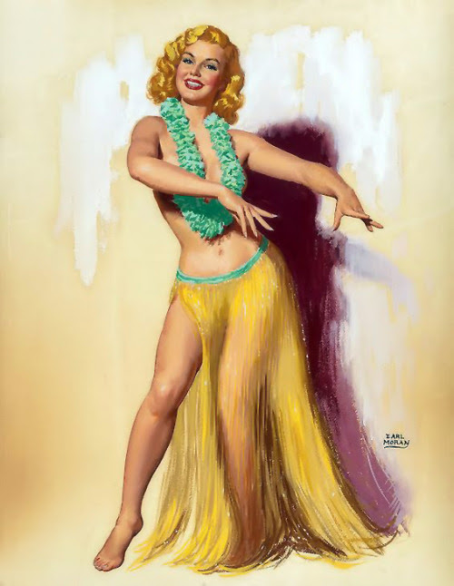 "Earl Moran - ""Marilyn in a Hula Skirt"" 1940's"