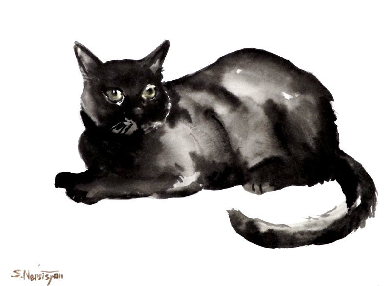 Black cat, original painting watercolor, 12 X 9, original art, cat lover - ORIGINALONLY