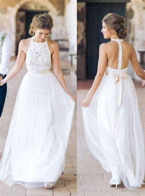 High Neck Lace Long Sheath Simple Design Wedding Party