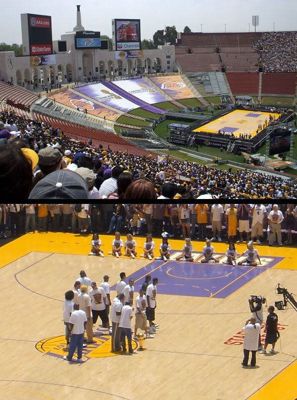 TOP PIC: More people continue to show up at the Coliseum to watch the 2009 NBA champs give speeches.  BOTTOM PIC: Laker players take the stage.  Or should I say...court.