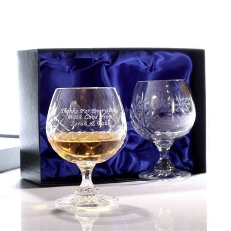 Engraved Cut Crystal Brandy Glasses   The Personalised
