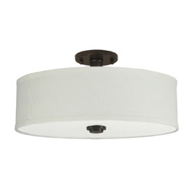 Good Earth Lighting 19-in W Valencia Dark Bronze Fabric Semi-Flush Mount Light
