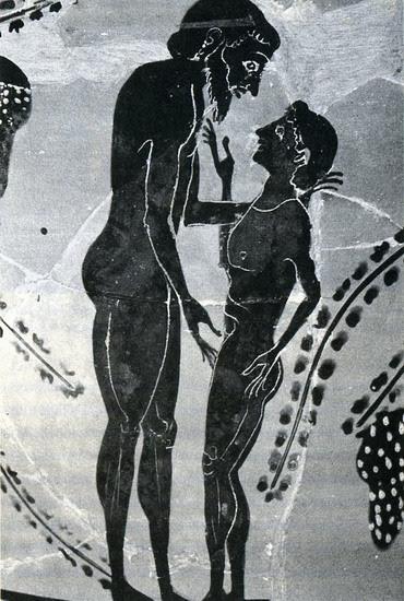 Detalle de un karkhesion ático de figuras negras