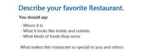 IELTS Cue Card Sample 2   Your favourite restaurant