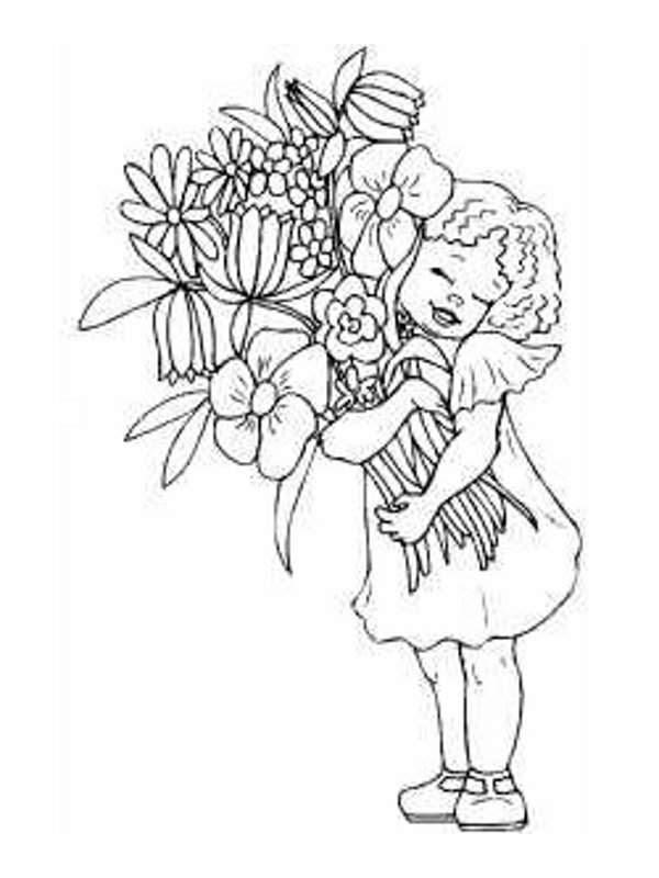 Dibujos De Ninas Con Flores Para Colorear Imagesacolorierwebsite