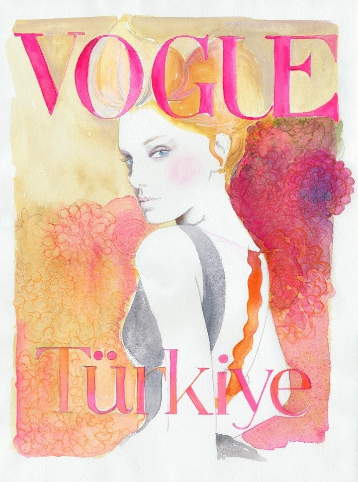 Watercolor Fashion Illustration Print - Vogue Turkey