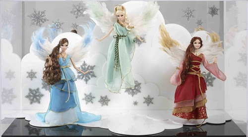Heavenly Trio of Barbie Angels & Display Case  by The Doll Cafe
