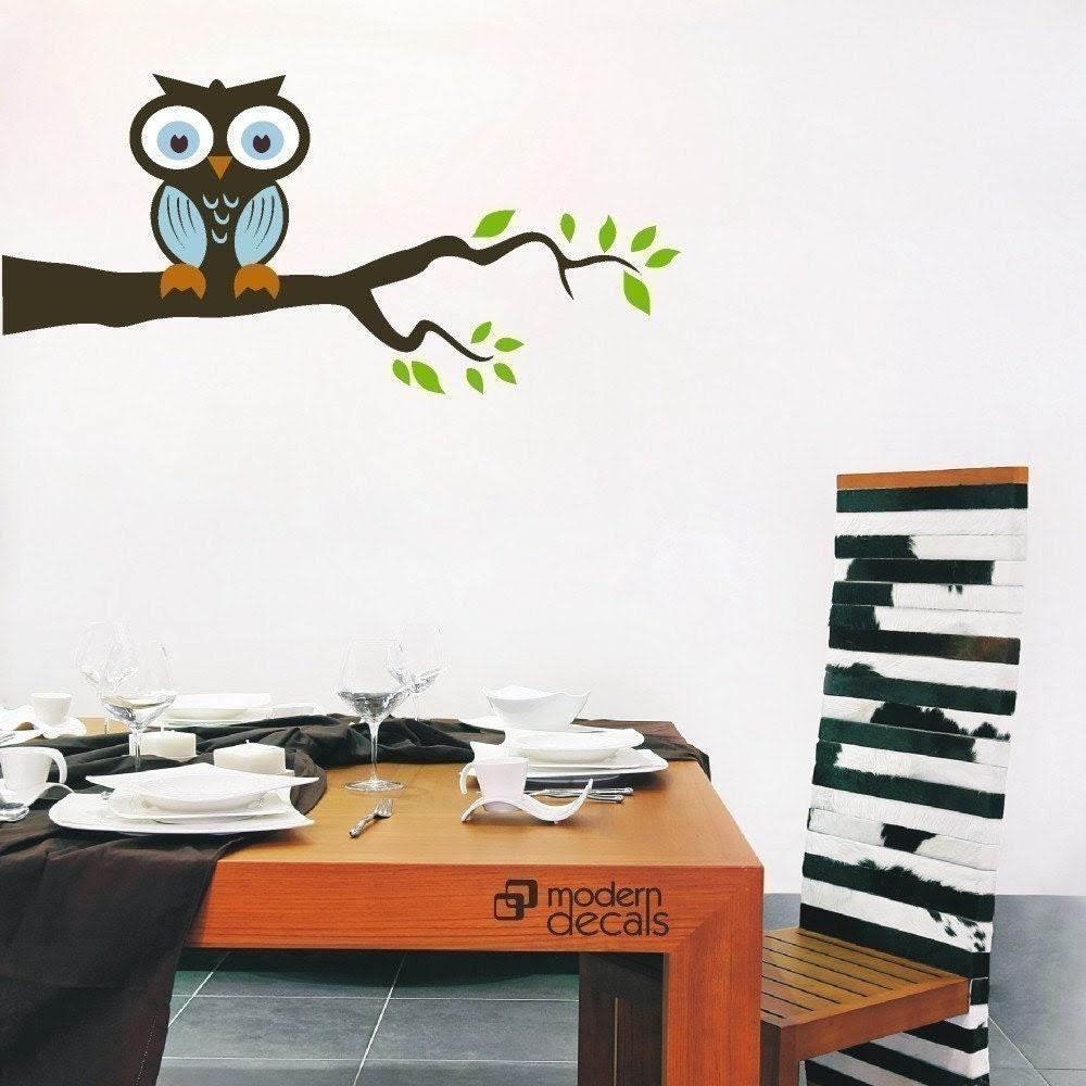 OWL on a Branch Vinyl Wall Art Decal Sticker by pinktobluekids