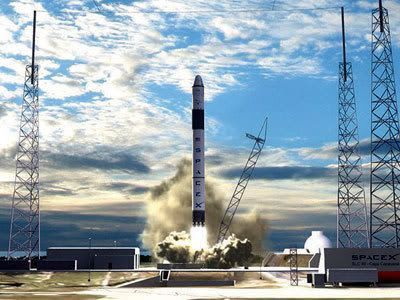 An artist's concept of the Falcon 9 rocket lifting off from Cape Canaveral in Florida.