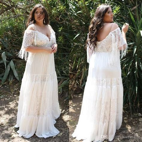 Discount 2018 Lace Plus Size Beach Wedding Dresses Off The
