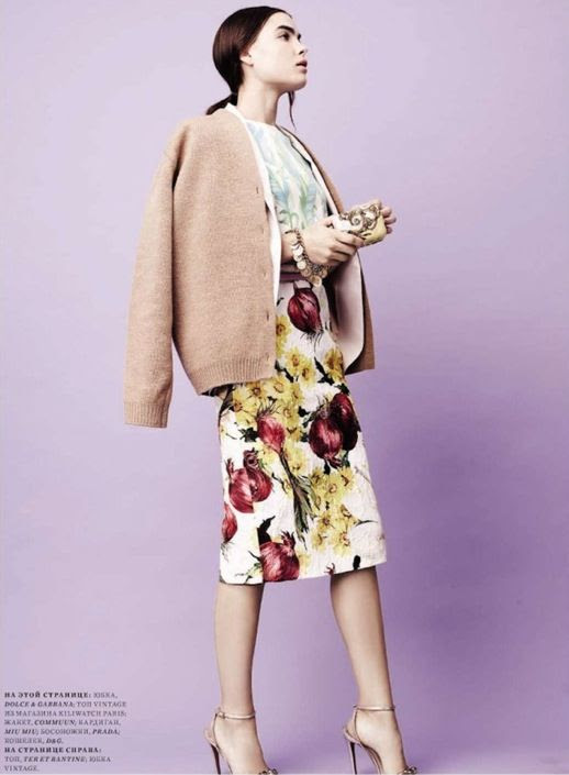 HARPERS BAZAAR RUSSIA BAMBI NORTHWOOD-BLYTH FLORAL SPRING 2012 MIX PRINT MIU MIU FUR PAINT BRUSH MARKS WHITE HEELS BOW TIES PLAID PASTELS LIGHT PINKS BLUES CELINE SHORTS MIDI SKIRT 4