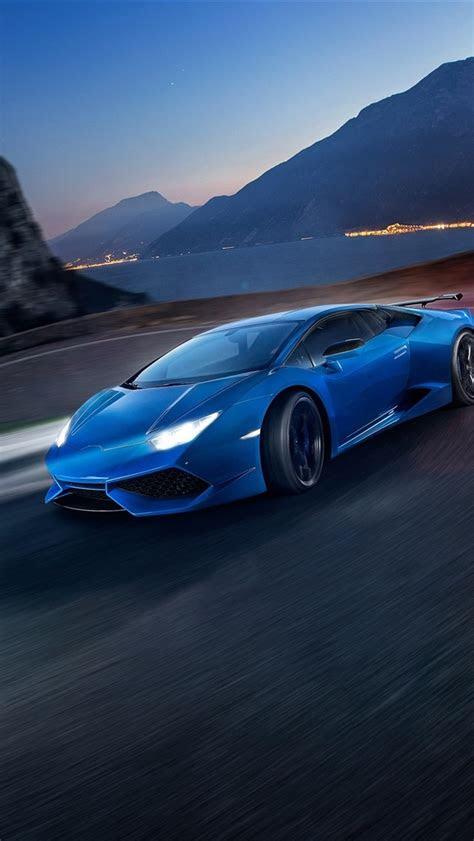 wallpaper lamborghini huracan blue supercar speed night