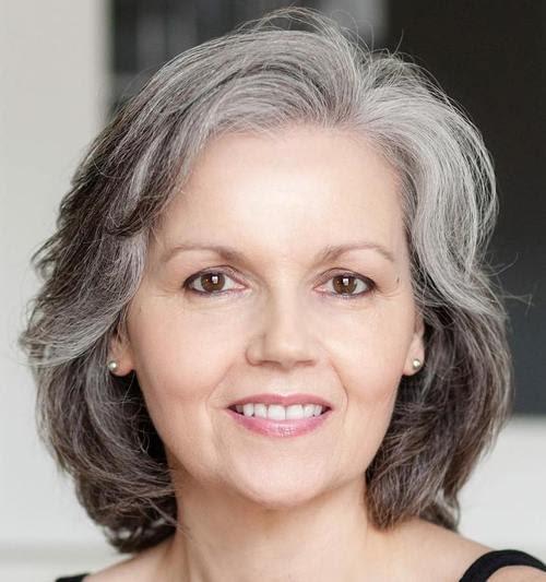medium hairstyle for gray hair in older women