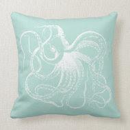 Mint Vintage Octopus & Nautical Stripes Throw Pillows