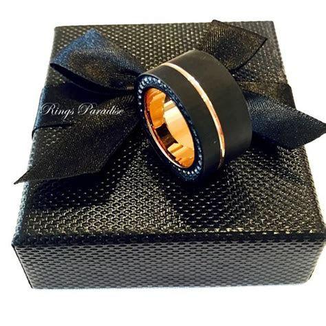 Mens Tungsten Ring, Black Rose Gold Tungsten, Mens Promise