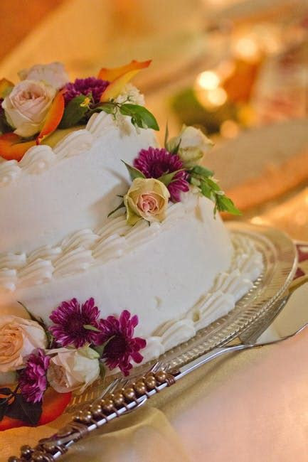 Green Yellow White and Purple Floral 2 Layered Cake · Free