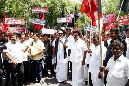 Protest against Modi's invitation to Rajapaksa