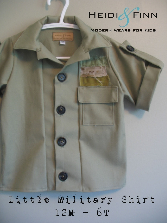 Little Military Shirt pattern and tutorial PDF 12m-6t slim fit shirt boys