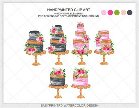 Wedding Cake Clipart High Tea Black Gold Pink Cake Wedding