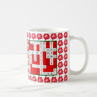 Love Crossword in Spanish on Coffee Mug