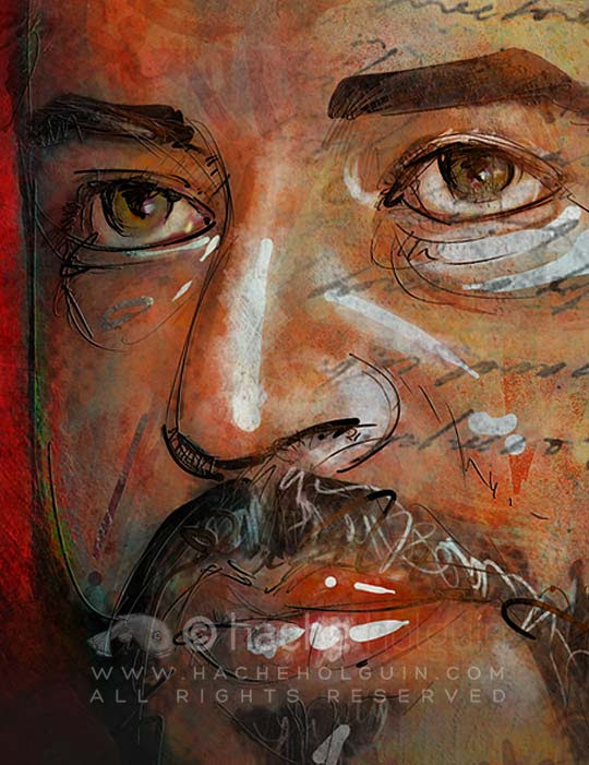 Ilustración y retrato. Mario Mendoza por Hache Holguín