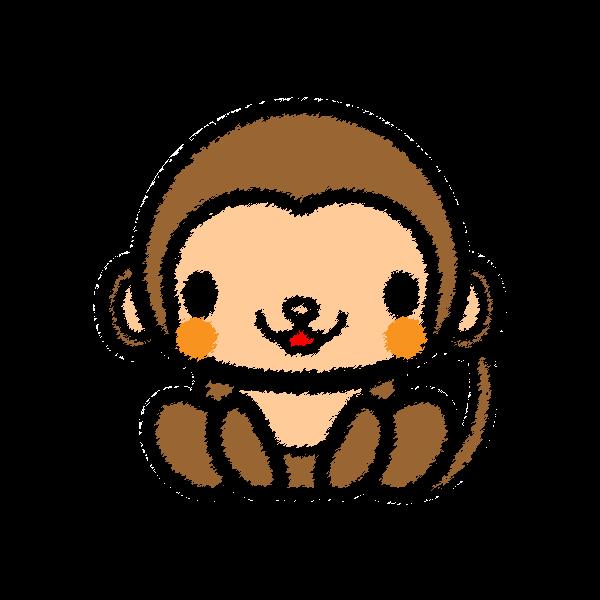 手書き風でかわいい猿の無料イラスト 商用フリー オイデ43
