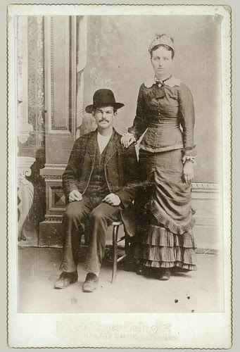 Cabinet Card pair with hats