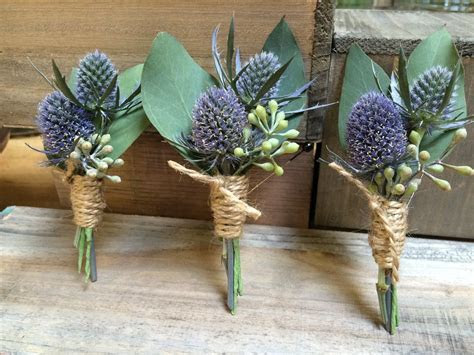 Design Scottish & Thistle & Twine Boutonnieres by