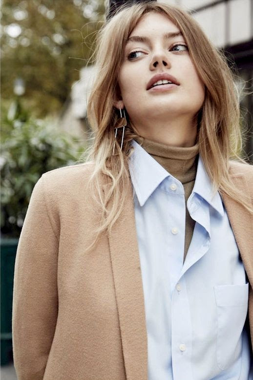 Le Fashion Blog Fall Style Layered Office Look Geometric Drop Earrings Camel Coat Light Blue Button Down Blouse Olive Green Turtleneck Via Grazia France
