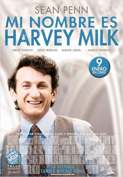 Cartel del film Milk, con el actor Sean Penn en la zona principal.