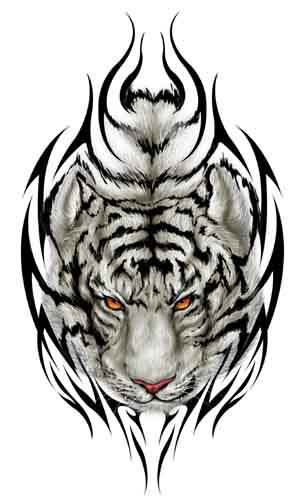 Temporary White Tiger Tattoo