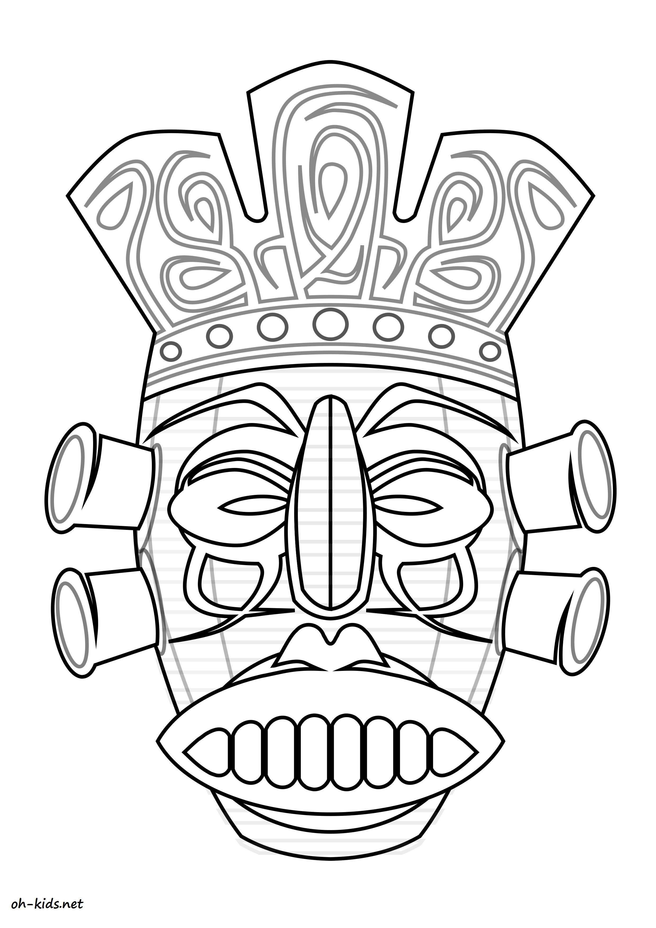 coloriage masque Afrique gratuit a imprimer Dessin 697