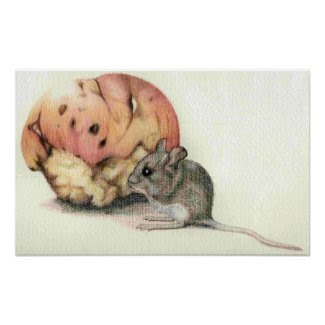 Mouse and Apple Canvas Print zazzle_print