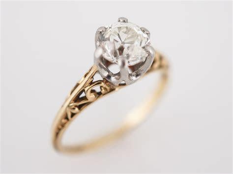 Antique Engagement Ring Art Deco .93 Old European Cut