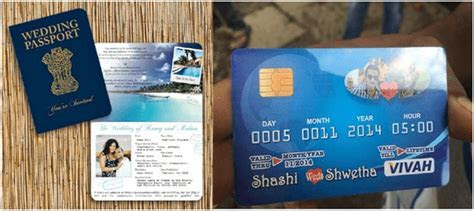 Passport and ATM card style wedding card   Wedding Card