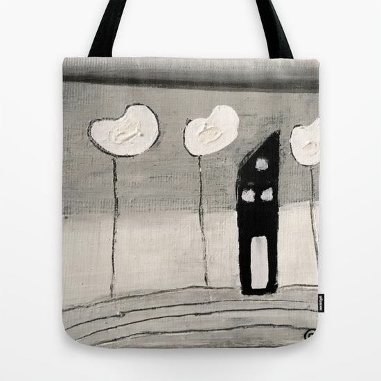 House #113 Black and White -  with Poppies 5 Tote Bag