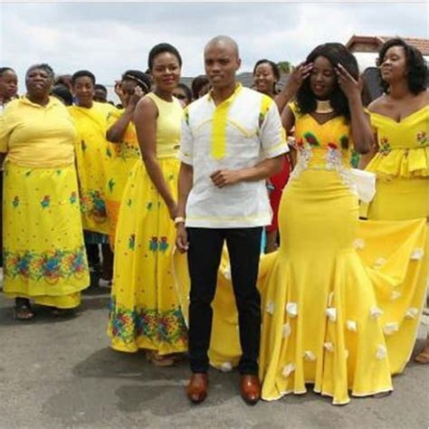 Couple and Squad In Tsonga Traditional Wedding Outfit