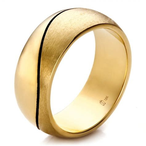 custom yellow gold brushed  polished mens wedding band