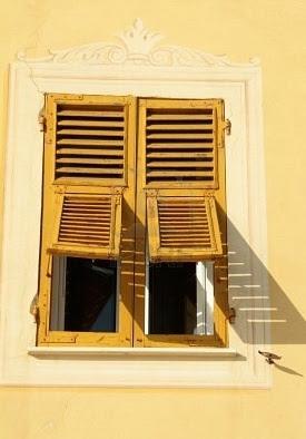 Shutters, yellow, window, sunny