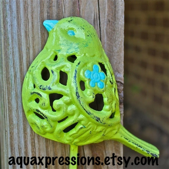 Bird Wall Hook /Lime Green /Chic Whimsy Decor by AquaXpressions