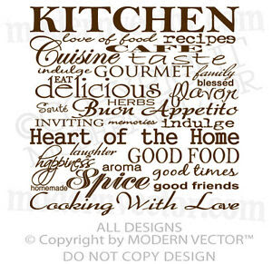 Kitchen Collage Quote Vinyl Wall Decal Lettering Cafe Indulge ...