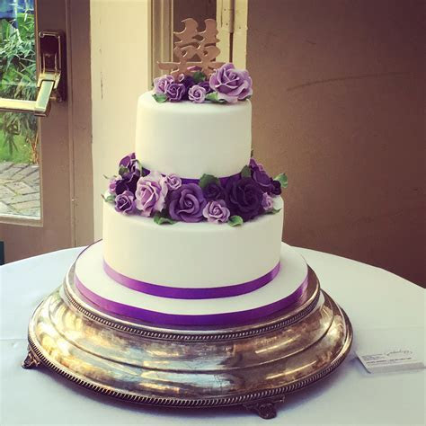 Two Tier Purple Rose Wedding Cake   Wedding Cakes   Cakeology