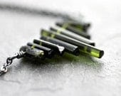 Raw Forest Green Tourmaline Point Necklace, Simple, Minimalist Pine Green Rough Crystal Stone Sterling Silver Necklace - Emerald City - TheSlyFox
