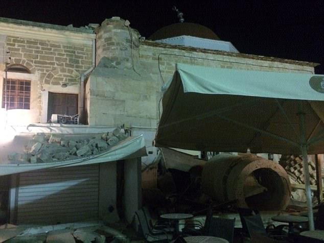 The earthquake caused several buildings to crumble (pictured) on the party island of Kos