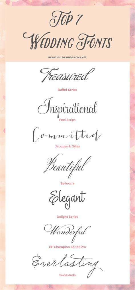 My Top 7 Fonts for Weddings   Fonts   Wedding invitation