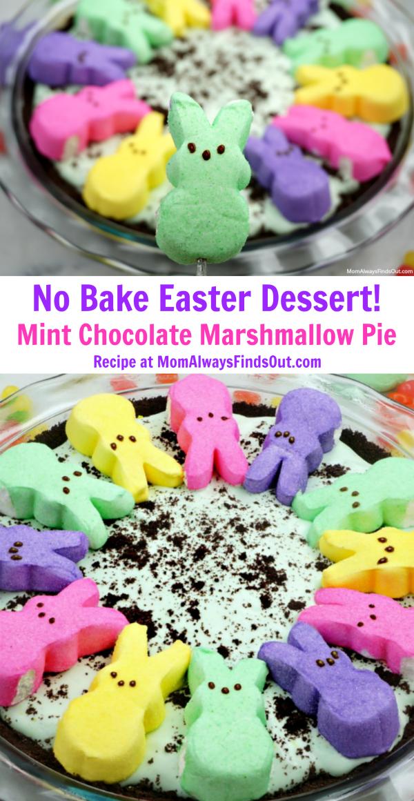 Peeps Chocolate Peppermint Marshmallow Pie No Bake Easter Dessert