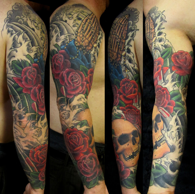 Praying Hands Rosary And Red Roses With Skull Sleeve Tattoo