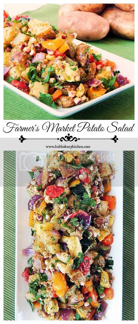 Farmer's Market Potato Salad - This is not your typical potato salad! Full of roasted veggie goodness, it is the perfect dish for those farm stand finds. From www.bobbiskozykitchen.com