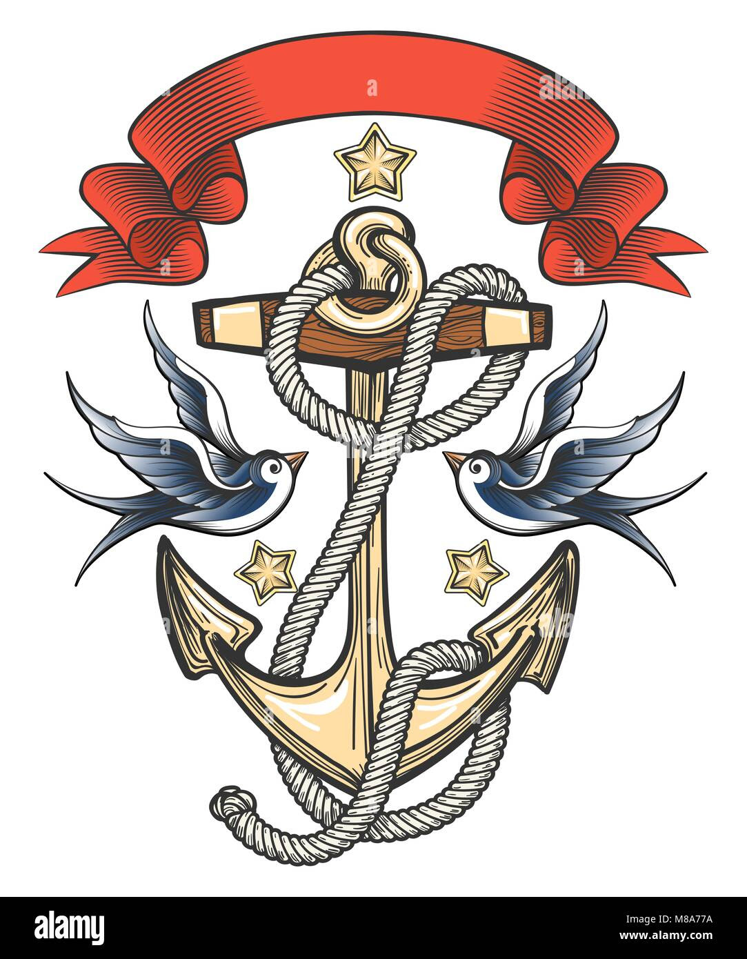 Anchor With Swallows And Ribbon Tattoo Design Vector Illustration