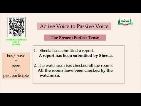 11th English Grammar Active and Passive Voice Unit 3 Part 2 Kalvi TV
